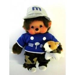 Maskotka małpka monchhichi chłopiec z pieskiem