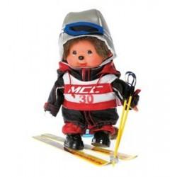 Maskotka małpka monchhichi chłopiec narciarz