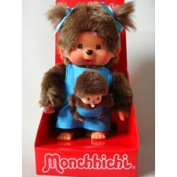 Małpka Monchhichi mama z dzieckiem cudowna jedyna niebieska