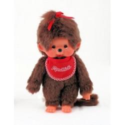 Maskotka małpka monchhichi dziewczynka z czerwonym śliniaczkiem